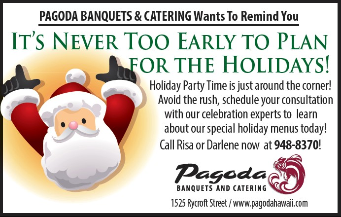 Early Holiday Bookings-Pagoda Banquets and Catering