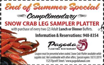 2019 Pagoda Restaurant End of Summer Special
